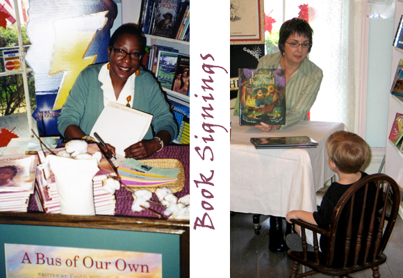 Book signngs: Freddi Evans (left) and Terri Hoover Dunham and friend (right)