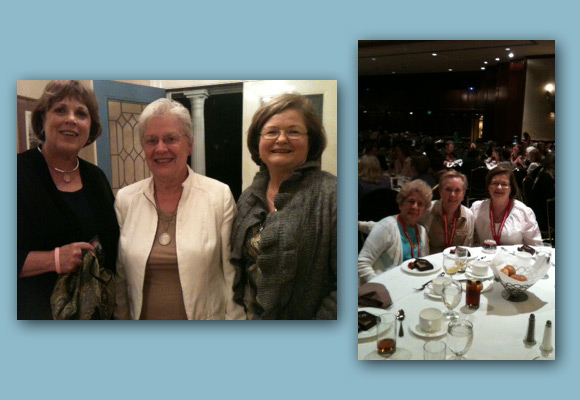 Photo on left: Ellen Ruffin with the deGrummond Collection. Photo on right, left to right: Cheryl Mathis, Carrel Muller and Pat Hefler are at the 40th summer conference in LA awards luncheon.
